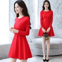 红色连衣裙秋冬女装2018新款中长款加绒加厚a字裙修身气质打底裙