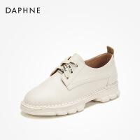 达芙妮 秋款简约字母系带运动风牛津鞋纯色平底休闲鞋-