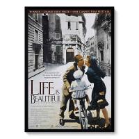 经典爱情老电影海报装饰画现代酒吧复古咖啡厅电影院壁画挂画定制 乳白色 美丽人生 60*80 黑色框 水晶画芯