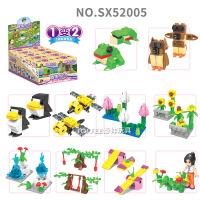 实星城市工程飞机多变 启蒙开启塑料拼装积木玩具小盒装52000