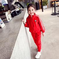 女童套装双面绒秋冬装儿童运动套装中大童两件套