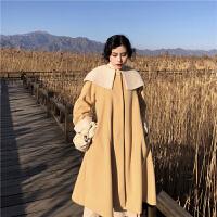 冬季新款毛呢外套流行时尚赫本呢子大衣+高领打底毛衣女两件套装 均码
