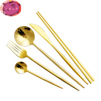 网红牛排刀叉勺筷子三件套 不锈钢家用西餐餐具 刀叉两件套盘子套装 勺+小勺+筷子