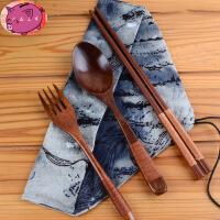 木质筷子 勺子叉子民族风布袋旅行便携餐具套装 环保学生三件套