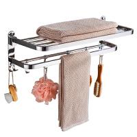 毛巾架免打孔卫生间不锈钢收纳浴巾架浴室洗手间厕所置物架壁挂架