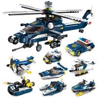 积木儿童益智拼装拼图玩具直升机飞机小孩子组装6-8-10岁礼物