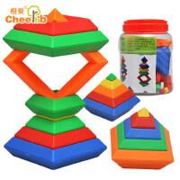 橙爱 金塔五彩叠叠乐 创意层层叠 宝宝白宫菱形积木 魔塔金字塔魔方 益智拼搭玩具