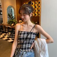 三木子快时尚女装~韩版格子短款吊带背心