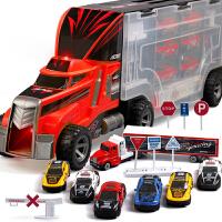 成乐美 儿童合金车模型玩具套装含7辆小车 收纳手提货柜车汽车运输卡车模型 95577-1