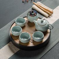 【新品热卖】汝窑茶具套装茶壶茶杯一壶二两杯四杯办公家用简约茶具豆青 4件