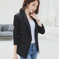 蕾可妮斯小西装女2018新款秋季女士休闲优雅西服长袖韩版修身显瘦 黑色
