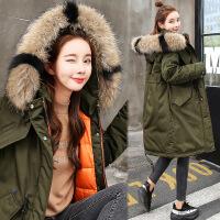 冬季加厚棉袄棉衣女冬装新款中长款外套羽绒过膝韩版女装 军绿 M