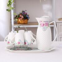 【热卖新品】茶具家用欧式水杯冷水壶凉水壶陶瓷杯水具套装耐热杯具配托盘客厅