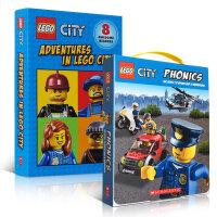 顺丰发货 乐高城市系列2盒套装 Lego City Phonics Adventures in Lego City 儿童启蒙认知英文原版图画书