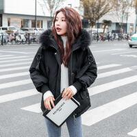 短款棉衣女新款冬季保暖学生韩版流行时尚大毛领连帽羽绒 黑色 S