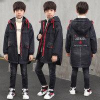 童装男童冬装外套加厚加绒2018新款中大童儿童牛仔棉服韩版潮棉衣