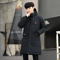 加大码男士冬季棉衣男中长款加厚韩版新款保暖棉袄外套 黑色 M(85-105斤)