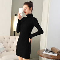 中长款毛衣女套头韩版新款加绒高领加厚打底衫冬季包臀针织连衣裙 均码 适合80~120