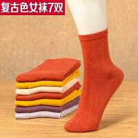 复古色女士中厚棉袜女装袜子冬天中厚女袜保暖糖果色冬袜