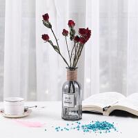 树枝永生花真插装饰干花花束家居摆设尤加利满天星带花瓶迷你饰品 干玫瑰花 8朵 带花瓶 干树枝