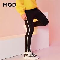 MQD童装加厚女童打底裤2019冬季新款加绒条纹字母运动儿童保暖裤