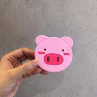 韩国ins小猪镜子动物卡通迷你随身小镜子圆形便携硅胶补妆镜