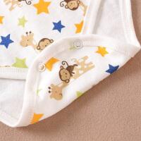夏装彩棉婴儿爬服婴儿连体衣短袖棉男女宝宝三角包屁哈衣
