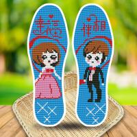 十字绣鞋垫半成品男女刺绣手工制作全棉针孔防臭透气单鞋垫