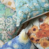 大师画作棉麻风印花抱枕加厚沙发办公室靠枕腰靠布艺
