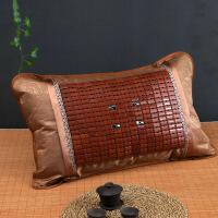 【好货】夏季麻将枕套冰丝藤枕芯套枕席夏天单人凉席竹枕头套一对 48cmX74cm