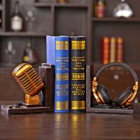 创意树脂工艺品家居礼品摆设耳机话筒造型书档办公室橱窗饰品摆件 耳机书挡