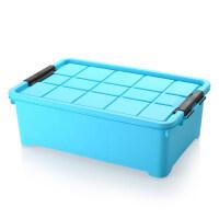 塑料大号床底收纳箱带滑轮玩具被子收纳盒加厚衣物整理箱储物箱收纳神器 蓝色 带滑轮 60cmx40cmx20cm