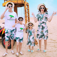2019新款潮母女母子装全家装一家三口洋气家庭套装沙滩亲子装夏装