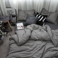 北欧简约纯色灰色全棉1.5M床单四件套日式水洗棉1.8M床笠1.2单人定制 浮小G
