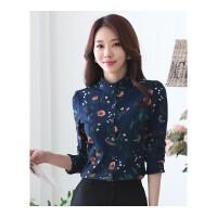 加绒保暖衬衫女长袖立领印花衬衣女中年秋冬韩版加厚雪纺衫打底衫