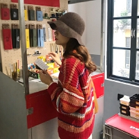 春季韩版女装彩虹条纹宽松显瘦针织衫百搭圆领长袖套头新年毛衣
