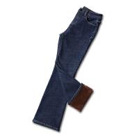 加绒牛仔裤女微喇叭冬季2018新款韩版秋季九分高腰显瘦黑色长裤子