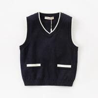 【春上新5折价:89】戴维贝拉男童2021春装新款儿童背心针织马甲上衣宝宝洋气毛衣纯棉