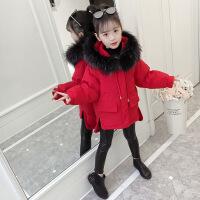 女童棉衣新款儿童秋冬装加厚棉袄大童洋气中长款女孩外套 红色DH53-2-803款 110码建议身高95-105厘米