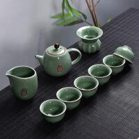 创意家用 玲珑陶瓷功夫茶具套装 茶盘盖碗茶壶泡茶杯 简约冲茶器