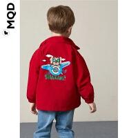 MQD童装儿童印花风衣外套2019秋装新款小童男宝宝宽松工装冲锋衣