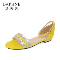 达芙妮夏一字扣带外穿低跟拼色露趾凉鞋女1018303017