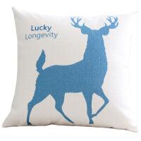秋冬加厚抱枕蓝色麋鹿北欧棉麻布艺抱枕套美式客厅沙发靠垫办公室抱枕靠枕腰靠