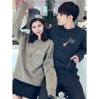 不一样的情侣装冬2018新款韩版学生宽松同色系秋装套装毛衣女
