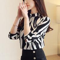 时尚雪纺衫女长袖2018秋冬新款韩版立领黑白条纹衬衫洋气小衫上衣 黑色