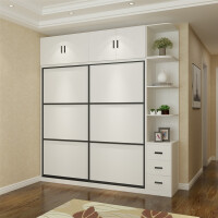 衣柜推拉门简约现代经济型式滑门主卧家具卧室家用组装白色衣橱柜 2门 组装