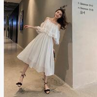 韩版夏季甜美可爱修身收腰仙女裙中长款露肩一字肩雪纺吊带连衣裙