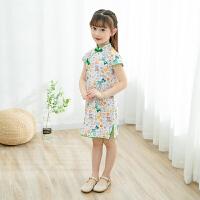 儿童旗袍夏季短袖女童旗袍中国风小女孩复古改良连衣裙