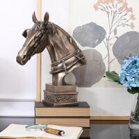 装饰品摆件创意客厅酒柜摆设家居饰品树脂工艺品美式复古北欧树脂大马头