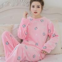 韩版秋冬可爱女士加厚珊瑚绒睡衣秋天圆领套头法兰绒家居服套装